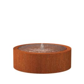 Cortenstaal watertafel rond 'Vanna' Ø120xH40 cm incl. 1 x fontein & ledverlichting