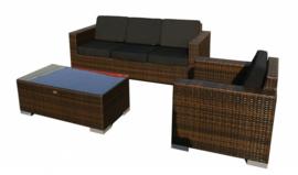 3-delige wicker Loungeset 'Salamanca' bruin - plat vlechtwerk - 4 persoons