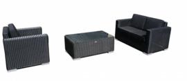 3-delige wicker Loungeset 'Salamanca' zwart - rond vlechtwerk - 3 persoons