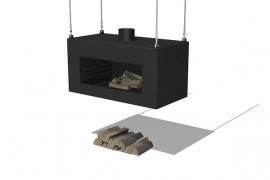 Tuinkachel/BBQ Onek matzwart Hangend Model L100xD50xH50 cm
