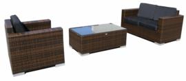 3-delige wicker Loungeset 'Salamanca' bruin - plat vlechtwerk - 3 persoons