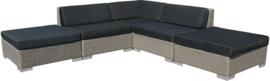 5-delige wicker Loungeset 'Pamplona' grijs geborsteld  - plat vlechtwerk