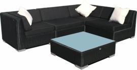 5-delige wicker Loungeset 'Pamplona' zwart - rond vlechtwerk
