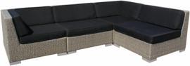 4-delige wicker Loungeset 'Pamplona' grijs geborsteld - plat vlechtwerk
