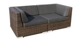 2-delige wicker Loungebank 'Pamplona' bruin - rond vlechtwerk