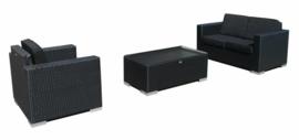 3-delige wicker Loungeset 'Salamanca' zwart - plat vlechtwerk - 3 persoons