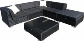 6-delige wicker Loungeset 'Pamplona'  zwart  - rond vlechtwerk