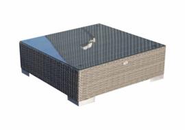 wicker tafel 'Pamplona' grijs - plat vlechtwerk