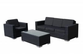 3-delige wicker Loungeset 'Salamanca' zwart - plat vlechtwerk - 4 persoons