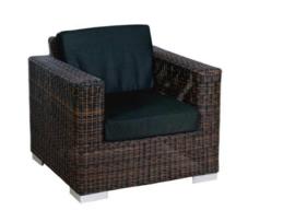 1 persoons wicker Loungestoel 'Salamanca' bruin - rond vlechtwerk