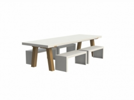 Tuintafel Aluminium 'Collar Wood' L260xB100xH75 cm
