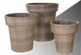 wicker plantenbak 'Zafra' cappuccino  - plat vlechtwerk