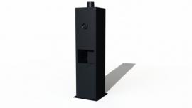 Tuinkachel/BBQ matzwart Staand model L50xD50xH200 cm