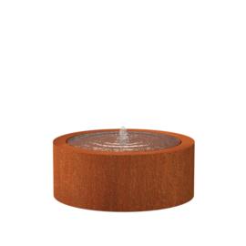 Cortenstaal watertafel rond 'Vanna' Ø100xH40 cm incl. 1 x fontein & ledverlichting