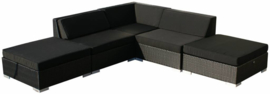 5-delige wicker Loungeset 'Pamplona' zwart  - plat vlechtwerk