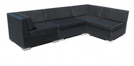 4-delige wicker Loungeset 'Pamplona' zwart - plat vlechtwerk