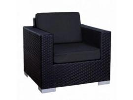 1 persoons wicker Loungestoel 'Salamanca XL' zwart - plat vlechtwerk