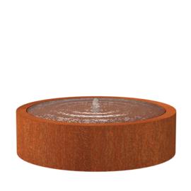 Cortenstaal watertafel rond 'Vanna' Ø145xH40 cm incl. 1 x fontein & ledverlichting