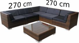 6-delige wicker Loungeset 'Pamplona' bruin  - plat vlechtwerk