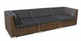 3-delige wicker Loungebank 'Pamplona' bruin - rond vlechtwerk