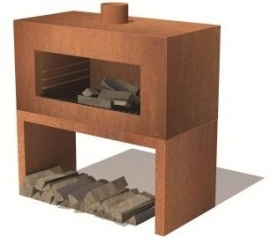 Tuinkachel/BBQ Onek Cortenstaal L100xD50xH100 cm
