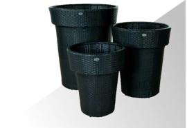 wicker plantenbak 'Zafra' zwart  - plat vlechtwerk