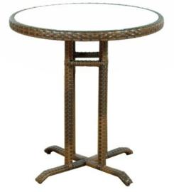 wicker ronde tafel 'Lleida' cappuccino - plat vlechtwerk