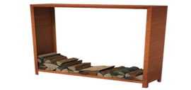 Cortenstaal houtopslag - L300xD40xH180 cm