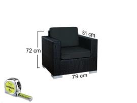 8-delige wicker Loungeset 'Pamplona'  zwart  - rond vlechtwerk