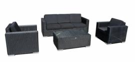 4-delige wicker Loungeset 'Salamanca' zwart - rond vlechtwerk - 5 persoons