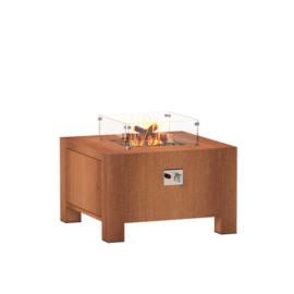 Cortenstaal design gasbrander  80x80x50 cm