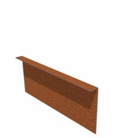 Cortenstaal kantopsluiting gezet 10 strips a 2300x2x100 mm (23 m lengte)