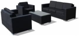 4-delige wicker Loungeset 'Salamanca' zwart - plat vlechtwerk - 5 persoons