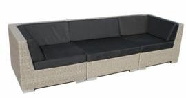 3-delige wicker Loungebank 'Pamplona' grijs geborsteld - plat vlechtwerk