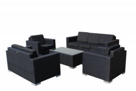 5-delige wicker Loungeset 'Salamanca' zwart - plat vlechtwerk - 7 persoons