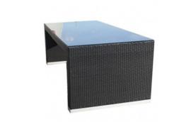 Wicker tuintafel 'Cádiz XL' zwart - plat vlechtwerk