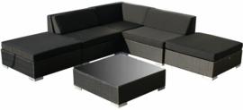 6-delige wicker Loungeset 'Pamplona'  zwart  - plat vlechtwerk