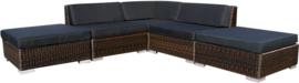 5-delige wicker Loungeset 'Pamplona'  bruin  - rond vlechtwerk