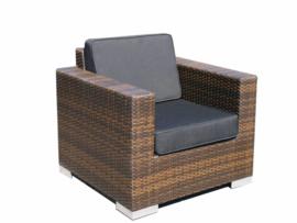 1 persoons wicker Loungestoel 'Salamanca' bruin - plat vlechtwerk
