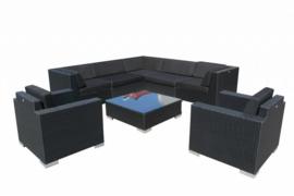 8-delige wicker Loungeset 'Pamplona'  zwart  - plat vlechtwerk