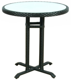 wicker ronde tafel 'Lleida' zwart - plat vlechtwerk