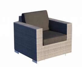 1 persoons wicker Loungestoel 'Salamanca' grijs - plat vlechtwerk