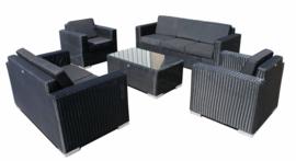 5-delige wicker Loungeset 'Salamanca' zwart - rond vlechtwerk - 7 persoons