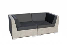 2-delige wicker Loungebank 'Pamplona' grijs geborsteld - plat vlechtwerk