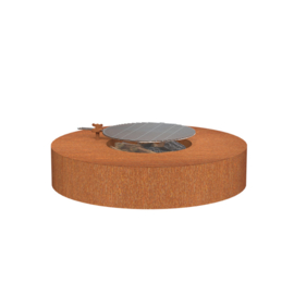 Cortenstaal Vuurtafel 'Bari' D125xH28 cm  met grillplaat