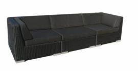 3-delige wicker Loungebank 'Pamplona' zwart - rond vlechtwerk