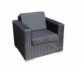 1 persoons wicker Loungestoel 'Salamanca' zwart - rond vlechtwerk