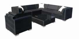 7-delige wicker Loungeset 'Pamplona'  zwart  - rond vlechtwerk