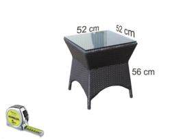 wicker bijzet tafel 'Bilbao' zwart - plat vlechtwerk