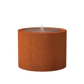 Cortenstaal watertafel rond 'Vanna' Ø100xH75 cm incl. 1 x fontein & ledverlichting
